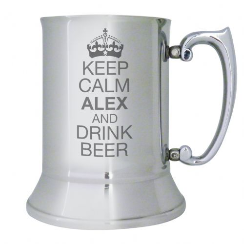 Personalised Keep Calm Stainless Steel Tankard